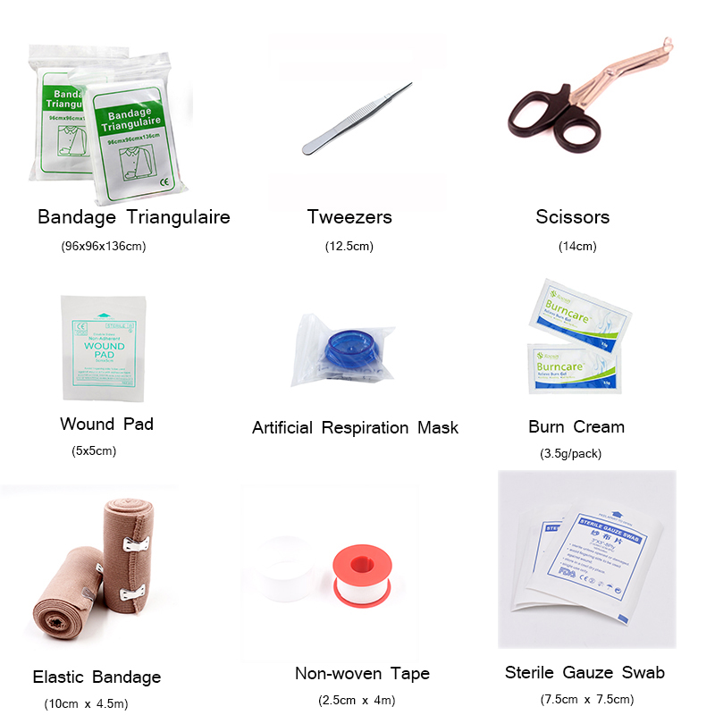 First Aid Kit DIY Bandage Triangulaire Tweezers Wound Pad CPR Mask Medical Tape Scissors Sterile Swab Burn Cream