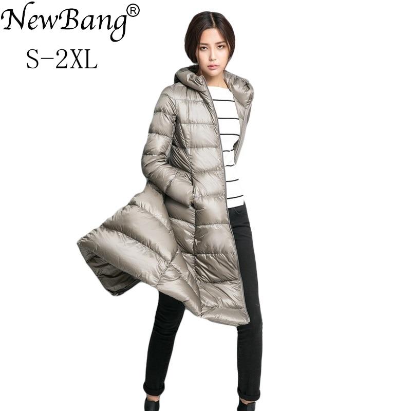 Kadın Giyim'ten Şişme Montlar'de NewBang Marka Uzun uzun kaban Kadın Hafif Aşağı Ceket Kadınlar Tüyler Ceket Kış Rüzgarlık Sıcak Parka'da  Grup 1