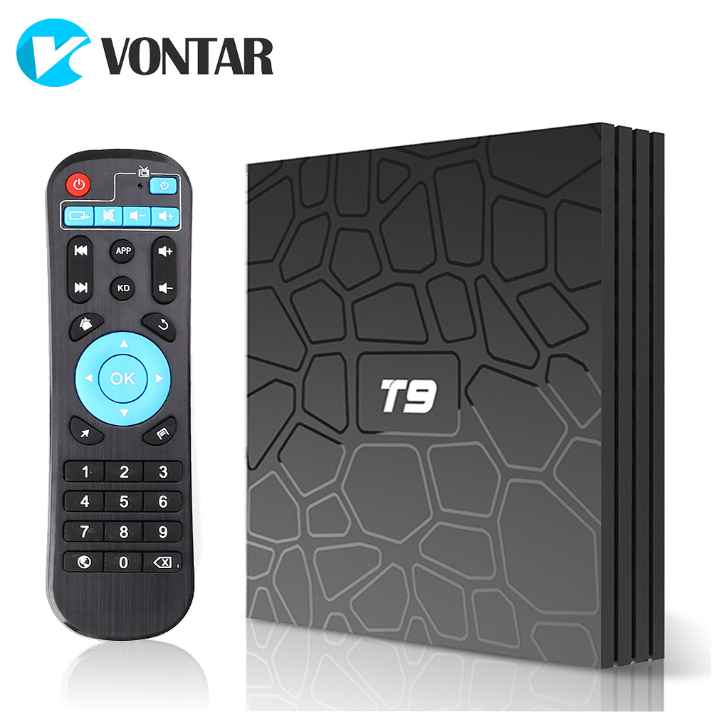 Android 8,1 VONTAR T9 TV BOX 4 GB 64 GB RK3328 Quad Core USB3.0 H.265 HEVC 1080 p Wifi 5 GHz BT4.0 Youtube Set Top Box media player