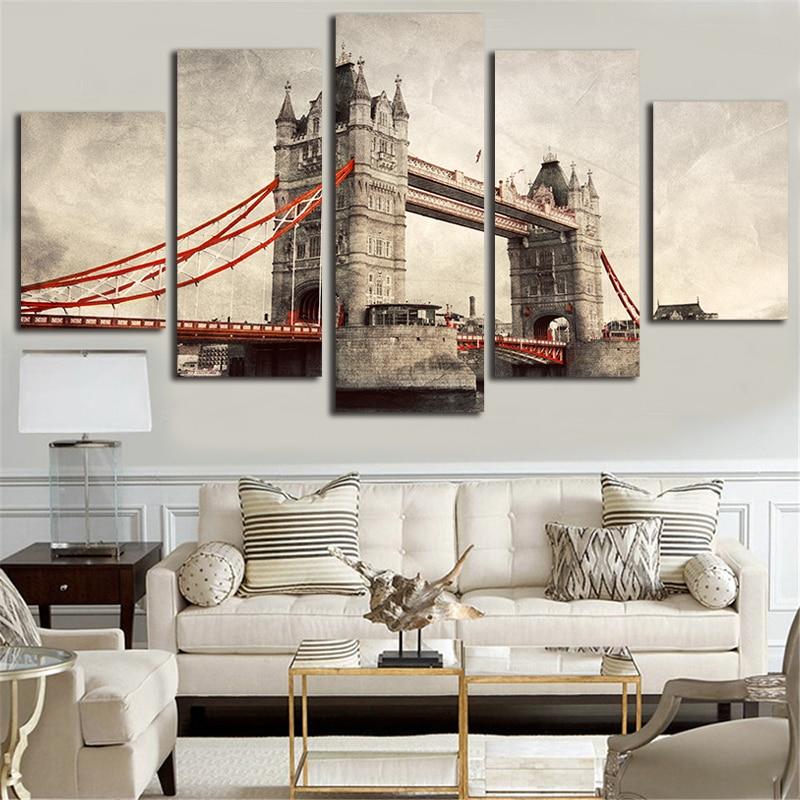 5 ks London Tower Bridge krajina retro plátno malování pro domácí dekor obývací pokoj nástěnná malba obraz HD vytištěn na plátně