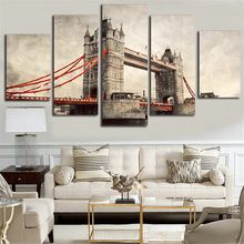 5 pcs London Tower Bridge landscape retro canvas painting for home decor living room wall painting picture HD printed on canvas