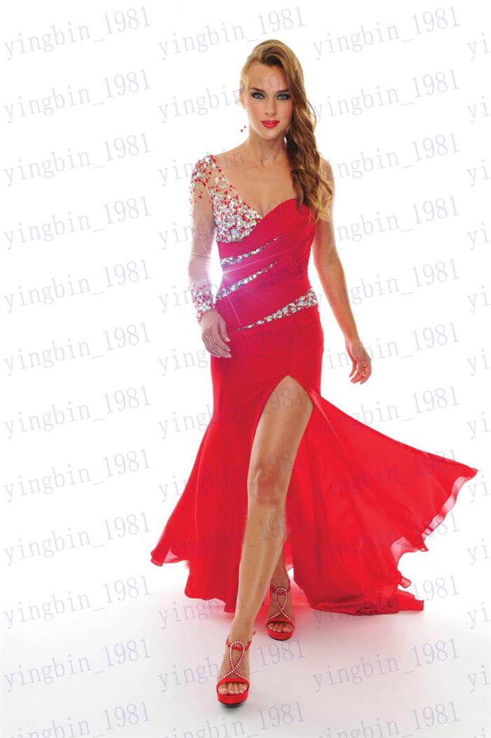 Free Shipping 2018 New Design Hot Custom Long Sleeve Sexy One Shoulder Red Chiffon Beading Formal Mermaid Prom Bridesmaid Dress