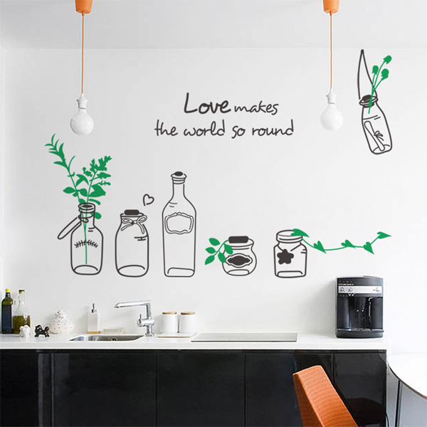 Wish Bottles Flower Vinyl Kitchen Sticker Dining Room Wall Decor Sticker  Quotes Love Adesivo De Parede