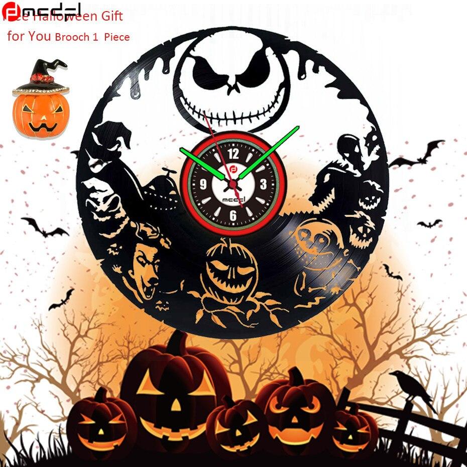 Хэллоуин вечерние декоративные аксессуары Jack O'lantern настенные часы светодиодный винил Винтаж настенные часы Luminova клок с тыквой брошь