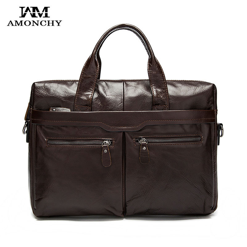 AMONCHY Natural Leather Men Handbags Men Leather Shoulder Bags Tote Casual Fashion Laptop Bag Dress Male Business Briefcases M21 amonchy genuine leather men shoulder bags handbags crocodile male bags natural leather man messenger bag alligator totes sac m50