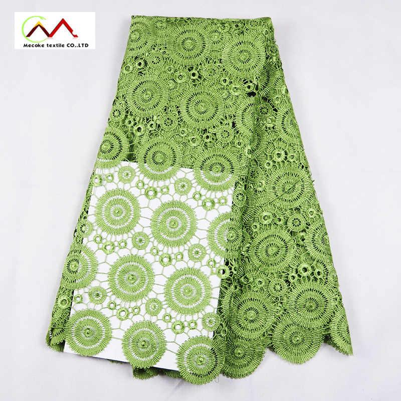 Erba verde tessuto di pizzo guipure Ricamato di alta qualità di disegno Africano tessuto di pizzo cavo, prezzo all'ingrosso del merletto solubile in acqua