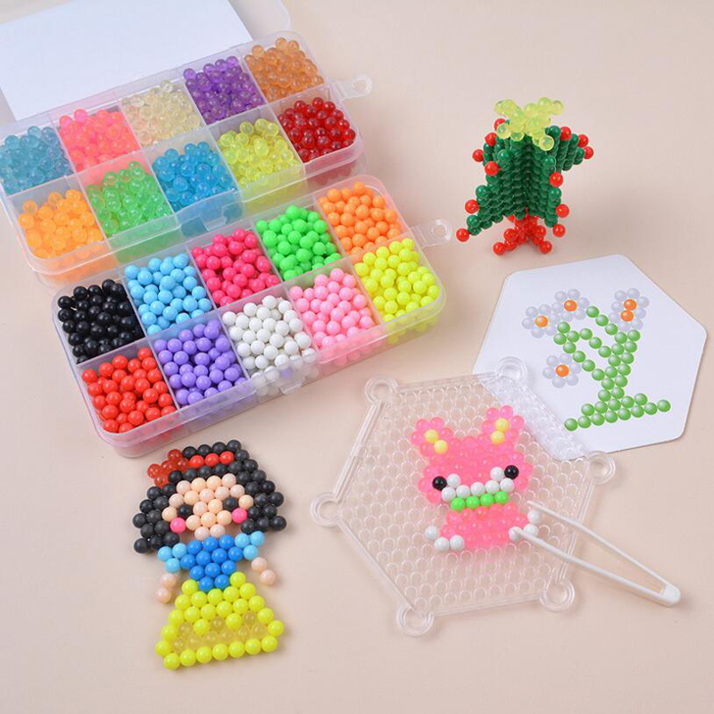Fashion Style Water Fuse Beads Kit 10 Colors Over 1100 Beads Refill Compatible Magic Spray Sticky Beads Set For Kids Art Crafts Toys