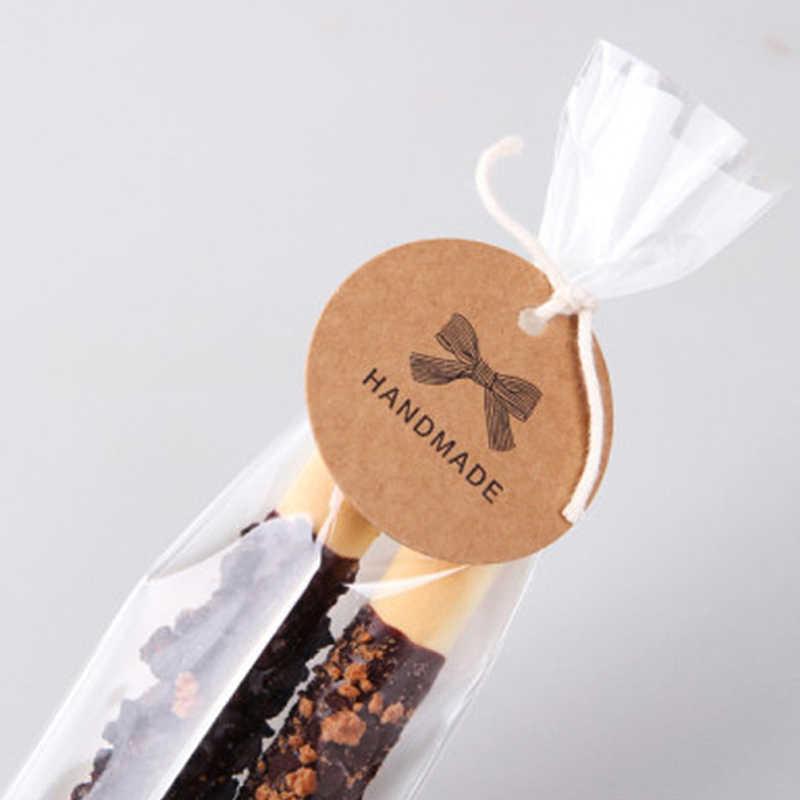 New 100 cái Handmade Vòng Kraft Đóng Gói Quà Tặng Tag Bow phong cách Giấy Kraft Treo Thẻ Quà Tặng Đóng Gói Thẻ Nhãn May tag