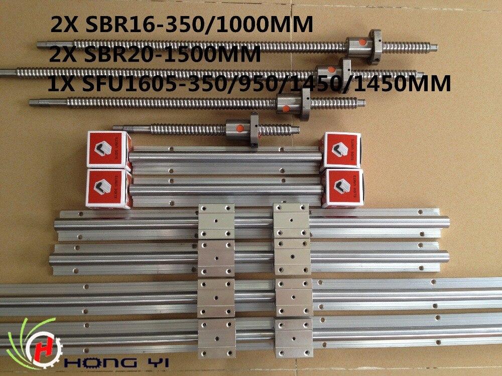 2X SBR16-350/1000mm linear rails with 8pc SBR16UU + SBR20-1500MM with 4pc SBR20UU ,4pcs ball screw RM1605-350/950/1450/1450mm фильтр для объектива camilla nd2 4 8 16 1000 gnd