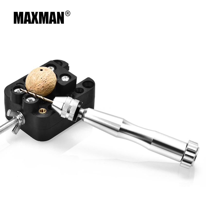 MAXMAN Hand tools set Mini Micro Aluminum Hand Drill With Keyless Chuck +10pc Twist Drill Bit Woodworking Drilling Rotary Tools 2 3mm mini drill chuck collet clamp adapter bit socket set micro brass drilling cartridge power tools for woodworking