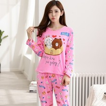 New 2017 Women Pajama Set Thin Cartoon Autumn Girlfriend Gift Indoor Cloth Home Suit Sleepwear Long Sleeve Female Pyjamas Sets