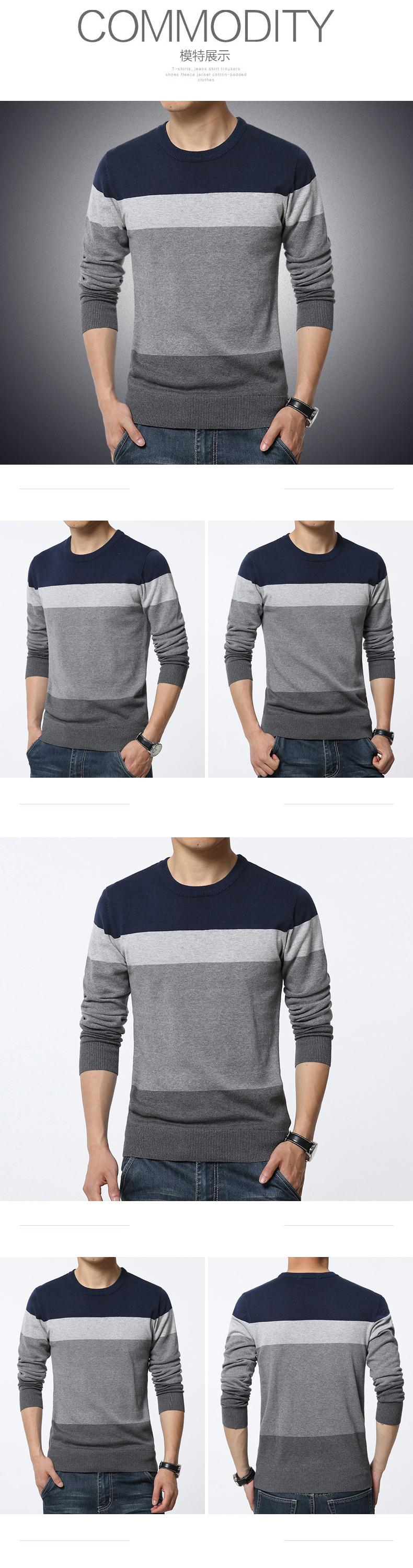 19 Autumn Casual Men's Sweater O-Neck Striped Slim Fit Knittwear Mens Sweaters Pullovers Pullover Men Pull Homme M-3XL 3
