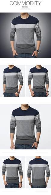 2019 Autumn Casual Men's Sweater O-Neck Striped Slim Fit Knittwear Mens Sweaters Pullovers Pullover Men Pull Homme M-3XL 15