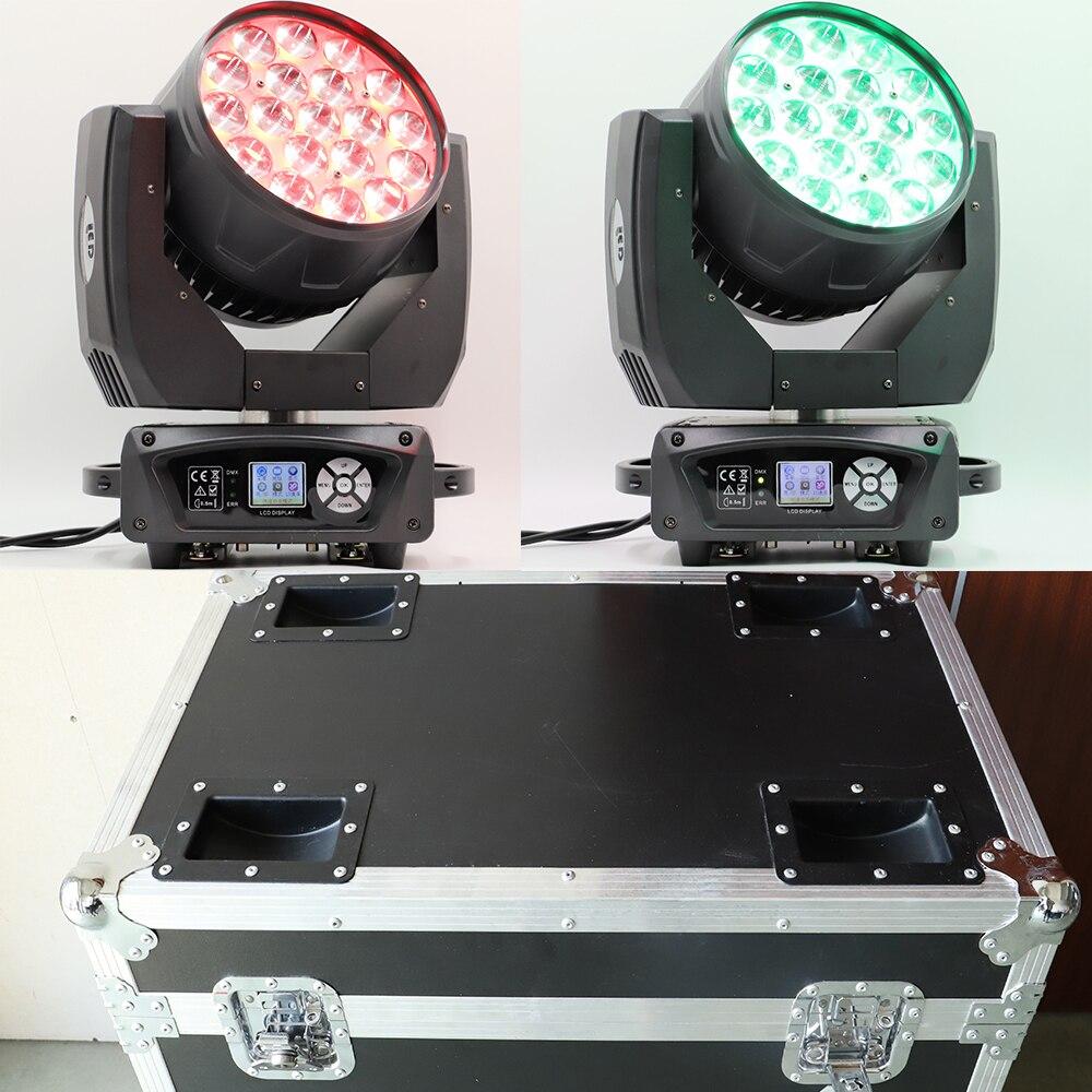Caso di volo in movimento testa zoom led della lavata di 19x15w rgbw luce capa commovente 19 occhi di luce in movimento testa