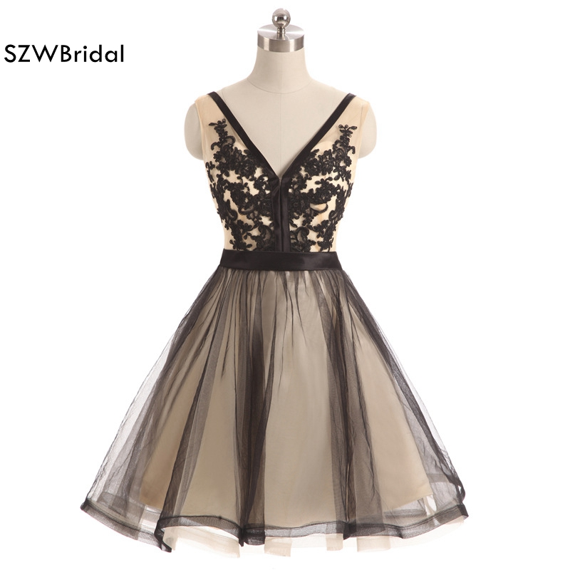 New Arrival V Neck Tulle Black   Cocktail     dresses   2019 Lace Beaded Vestido de festa curto Cheap party   dress   Plus size