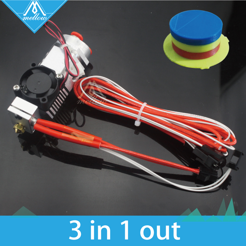 Hot!3D Printer parts Reprap 3 in 1 out Multi-color Three Colors Switching Hotend kit, Titan / Bulldog Bowden Extruder hot end horizon elephant ultimaker original ultimaker 2 cyclops multi color hotend kit hot end 2 in 1 out switching hotend 12v 24v 3d pr