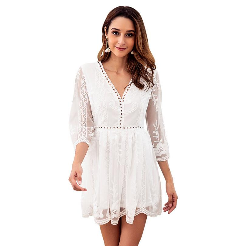 Women Lace Dress V-Neck Empire Female Casual Embroidery Mini Dressed Summer Autumn Clothing Women Three Quarter Sleeve Dress