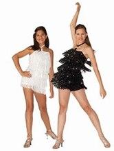Yeni kadın profesyonel Latin dans kostümleri caz dans performansı giyim kek elbise