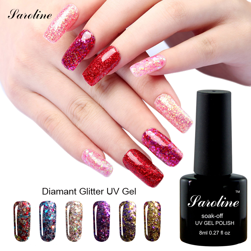 Saroline Diamond Shiny Sequin Glitter UV Gel Varnish