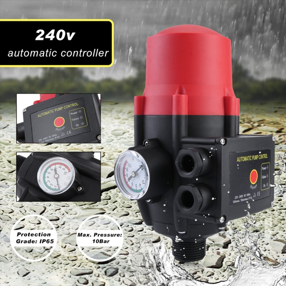 где купить Professional Hydraulic Electronic System 0-10Bar Automatic Water Pump Controller Pressure Switch With Pressure Gauge по лучшей цене