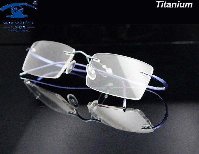 6236f2f9202bc Ultra-luce Memoria Titanio Occhiali Cornice Uomini Senza Montatura Miopia  Occhiali in Lenti Ottiche Rx Prescrizione Montature Da Vista