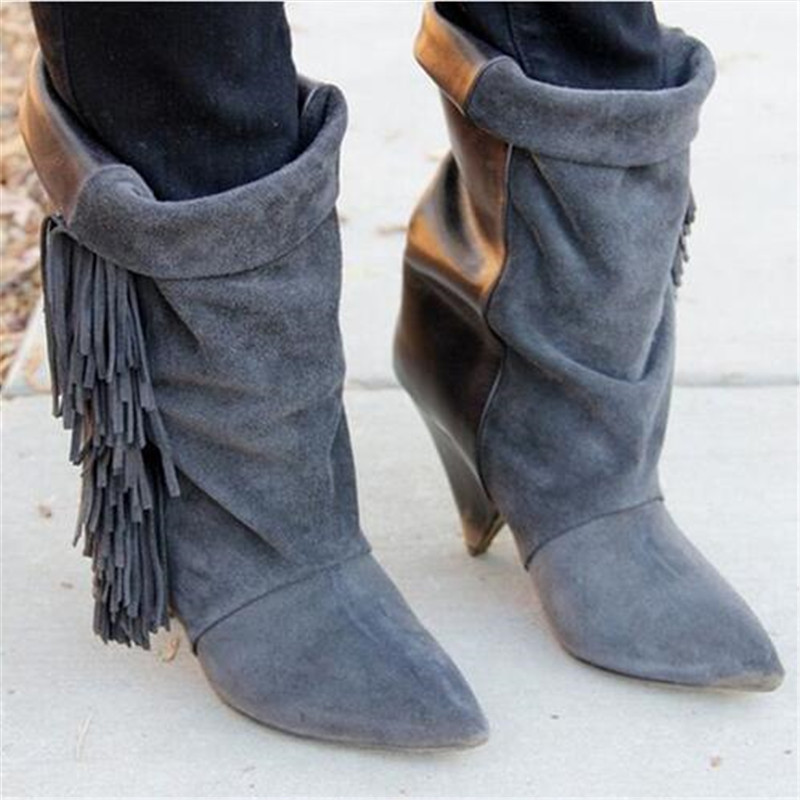Suede Leather Fringe Women Ankle Boots Spike High Heels Boots Tassel Fall Winter Boots Ladies Shoes Woman Booties Botas Mujer