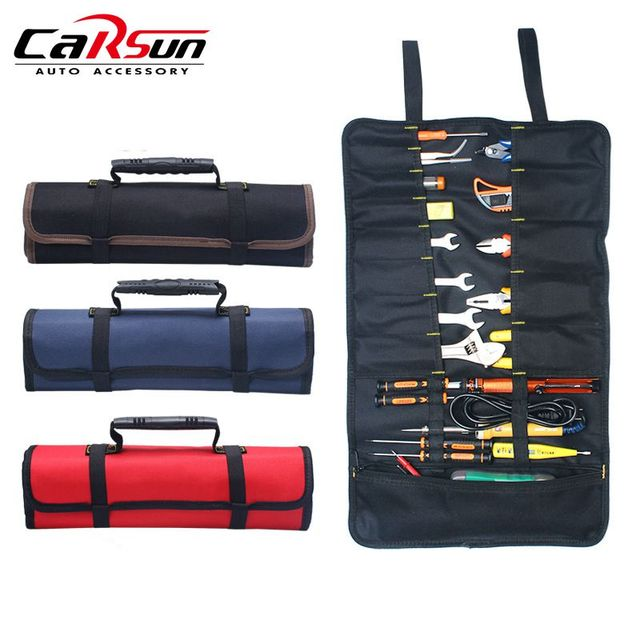 Oxford Canvas Chisel Roll Car Repair Tools Storage Bag Organizer Waterproof Portable Diagnostic Tools Auto Organizer with Handle
