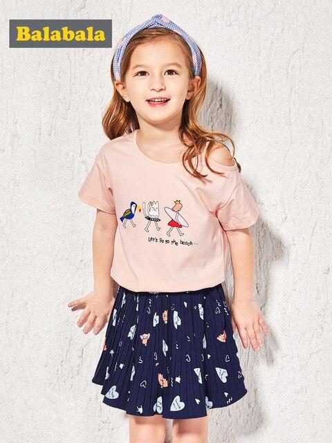 Balabala 服セット夏スタイル子供服セット半袖 White T-シャツ + ショーツ 2 Pc 子供女の子スーツ