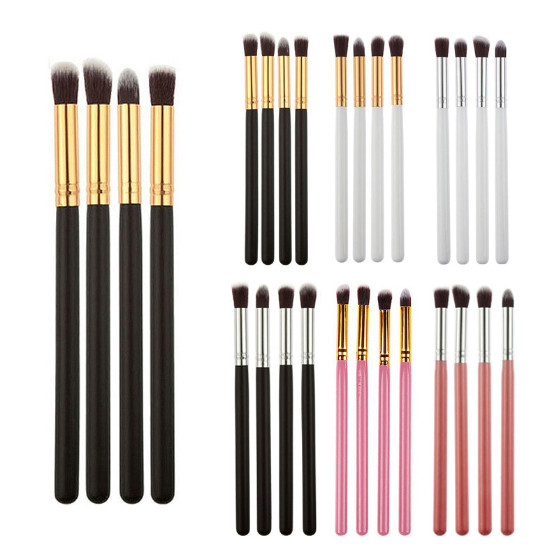 Professional New 4pcs Foundation Blush Blending Eyeshadow Makeup Brush Cosmetics Flat Round Angled Tapered Top Brush H7JP top quality foundation brush angled makeup brush