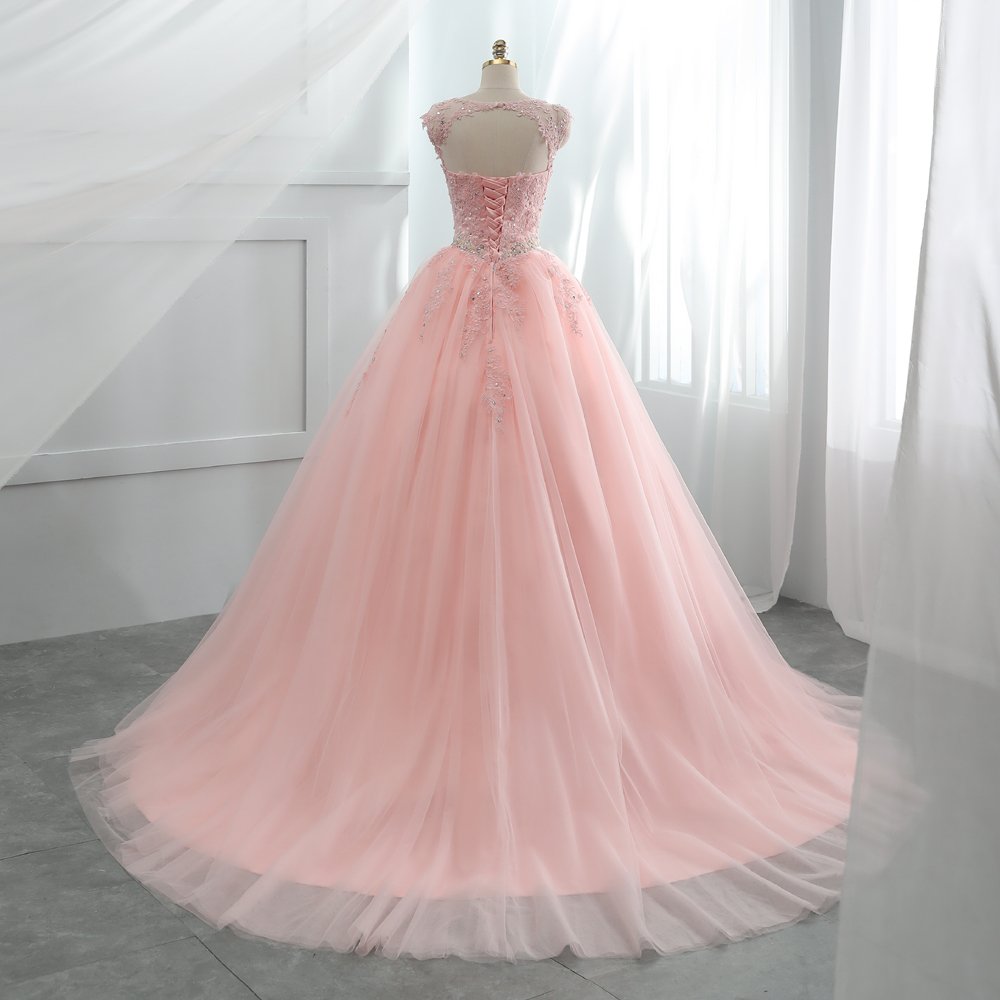 Image 4 - Fansmile Tulle Mariage Vestido De Noiva Pink Lace Wedding Dresses 2019 Plus Size Long Train Wedding Gowns Bride Dress FSM 458T-in Wedding Dresses from Weddings & Events