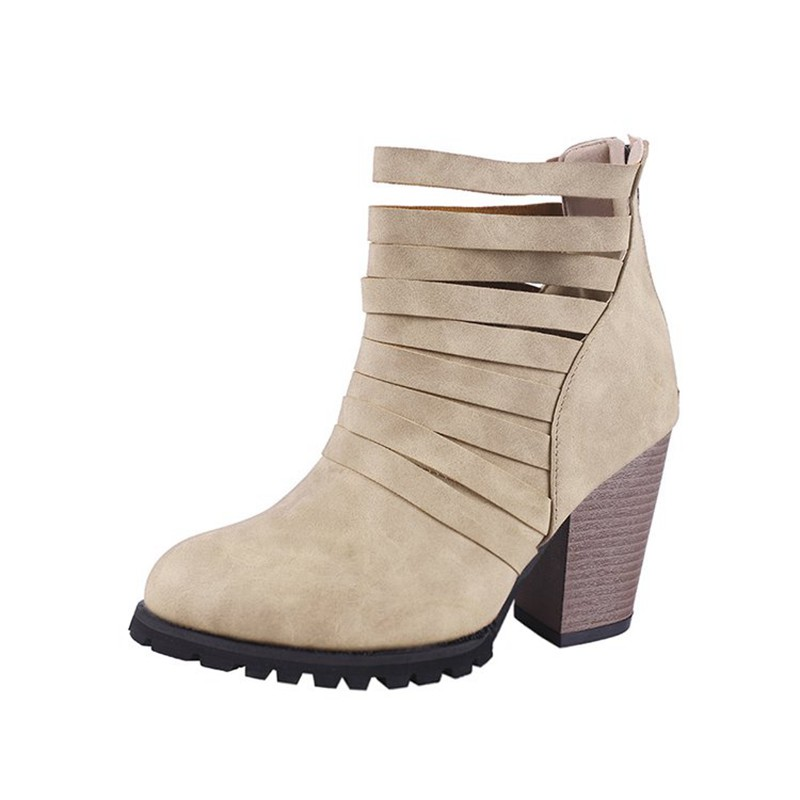 COOTELILI Hollowed-Out Shoes Woman High Heels Ankle Boots For Women Fashion 9cm Heel Rubber Boots Women Pumps 40 41 42 43  (11)