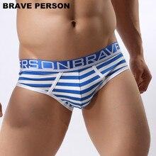 BRAVE PERSON Brand Underwear Men Briefs Cotton Striped Briefs Men Sexy Underwear Briefs Wide Belt Underpants Male Panties B1154 недорого
