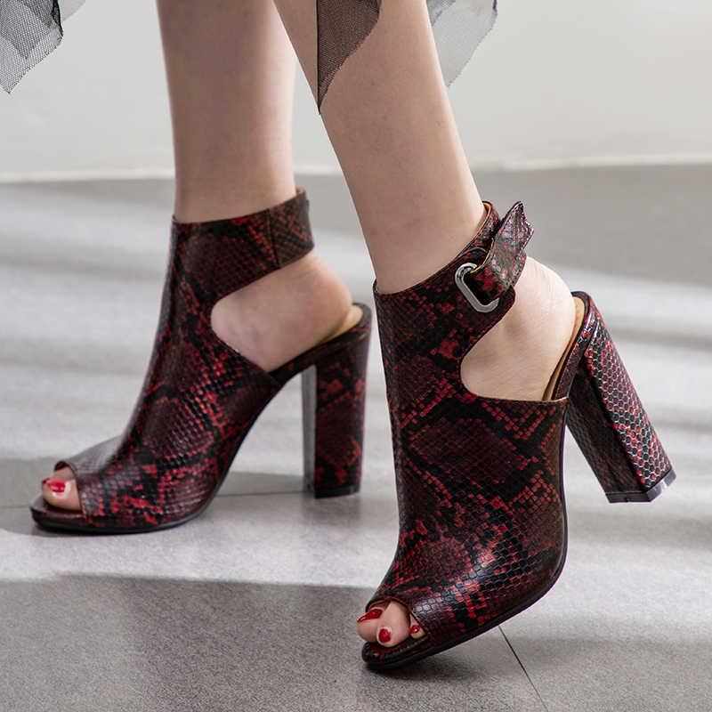 Kadın Yılan baskı Sandalet Gladyatör Yüksek Topuklu Ayak Bileği Kayışı Çizmeler Kadın Moda Yaz Bayanlar Ayakkabı Siyah boyutu 34 41 42 43