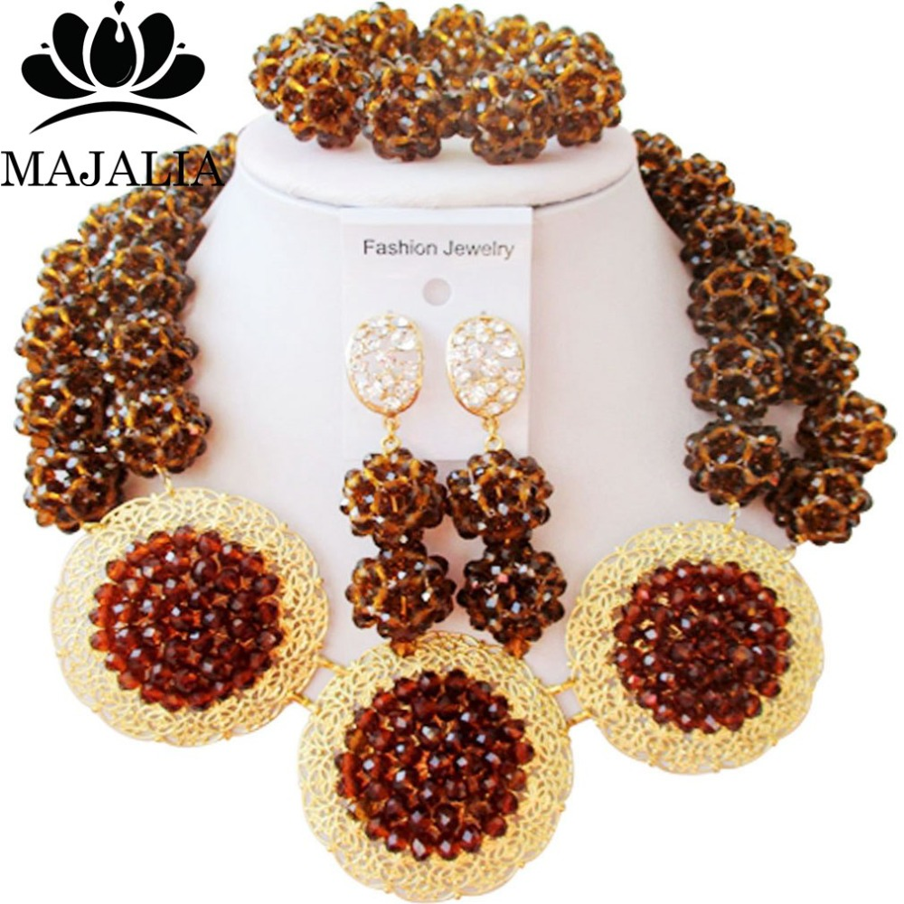 Majalia Fashion Nigerian Wedding African Jewelry Set Brown Crystal Bead Necklace Bride Jewelry Sets Free Shipping 2JS061Majalia Fashion Nigerian Wedding African Jewelry Set Brown Crystal Bead Necklace Bride Jewelry Sets Free Shipping 2JS061