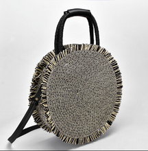 2019 Lady Round Rattan Bag Handmade  Straw Woven Circle Crossbody Handbag for Women Tassel Beach