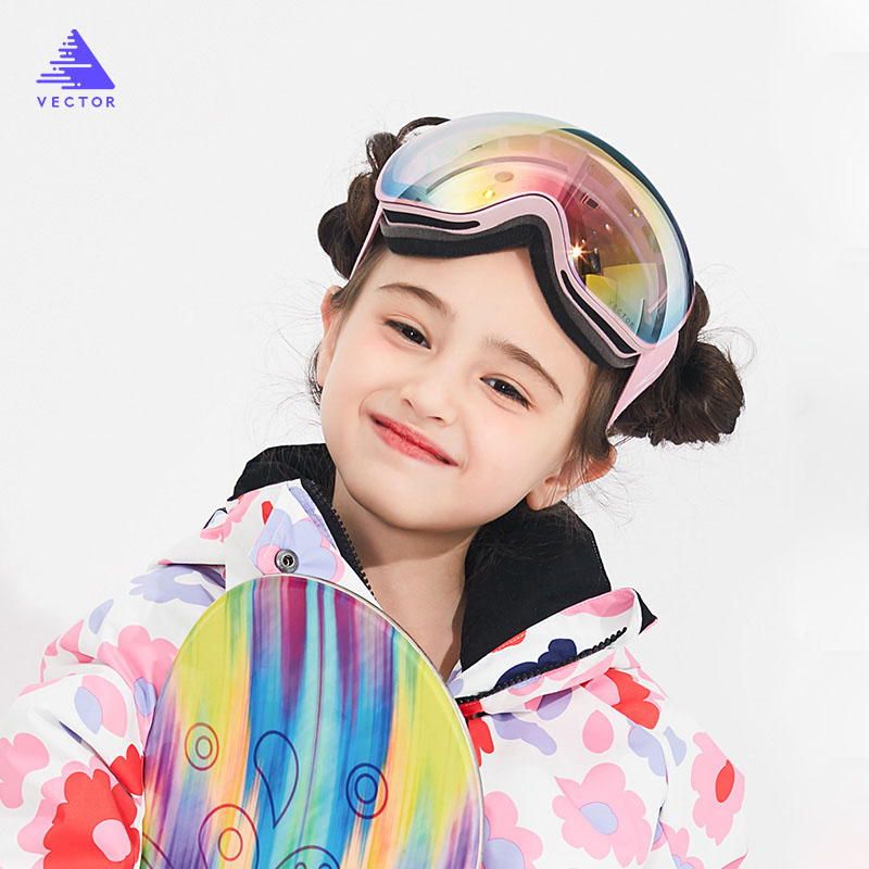 Kids Ski Goggles Big Spherical for Children Double Layers UV400 Magnetic Ski Glasses Girls Boys Snowboard Goggles Eyewear