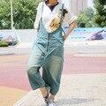 Women 2017 New Zipper Denim Overalls Ladies Bleached Loose Strap Denim Pants Female Vintage Jumpsuits Pockets