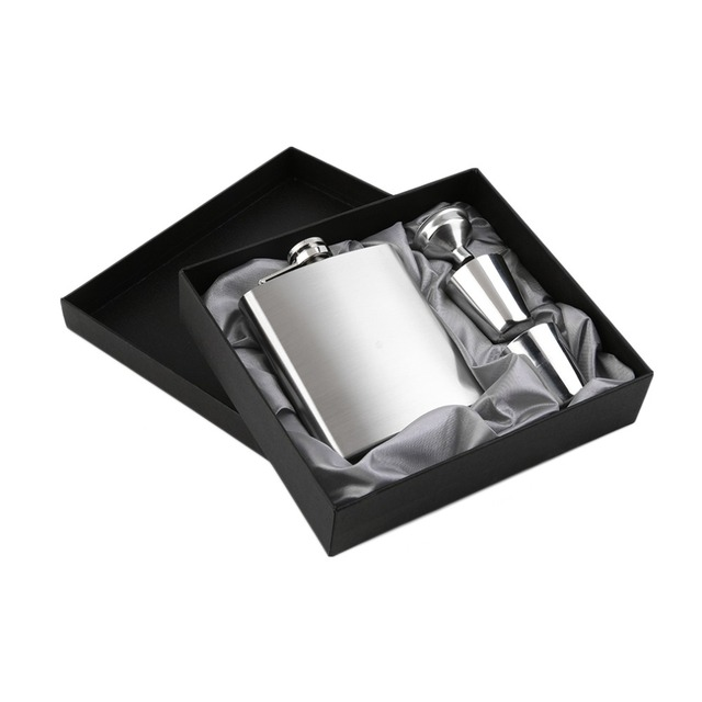 2017 Popular New 7oz Stainless Steel Pocket Hip Flask Funnel Cups Set Drink Bottle Gift Drop Shipping