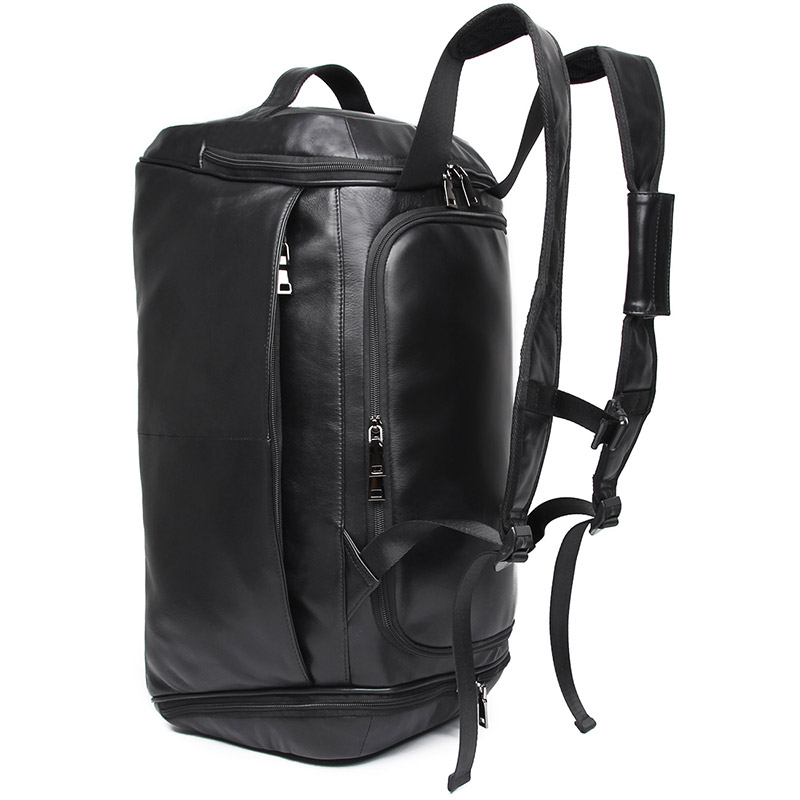 Travel Backpack Large Capacity Men Genuine Leather Clothes PC Shoes Long Trip Mountaineering Hiking 2 usages