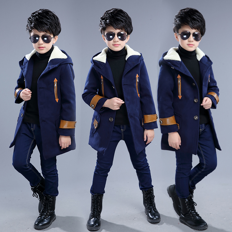 Boys woolen coat fashion boy spring and autumn woolen coat plus velvet thickening 2018 new children's clothing children's coat plus contrast striped coat