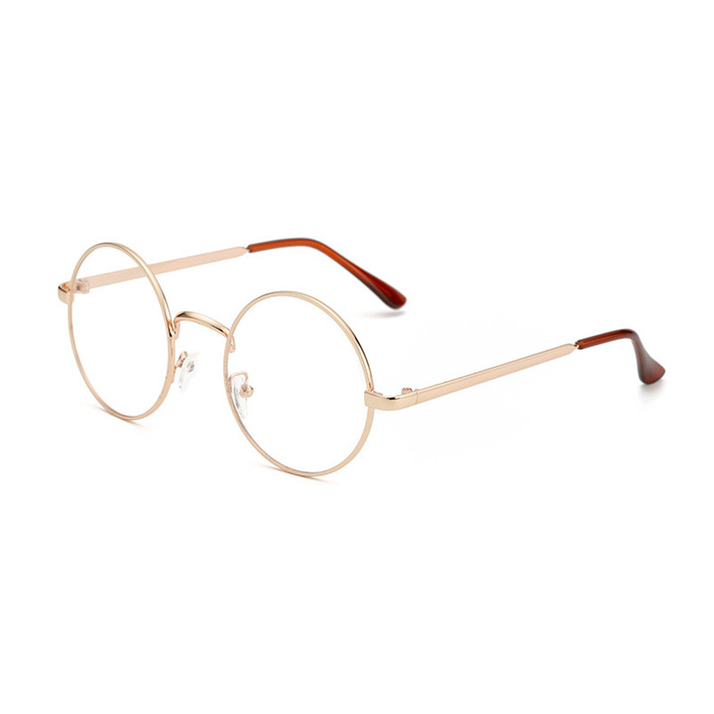 Hot Selling Solid Alloy Korean Glasses Frame Retro Full Rim Gold Eyeglass Frame Vintage Spectacles Round Computer Glasses