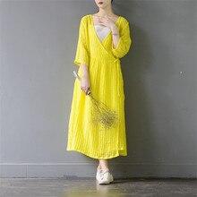 SCUWLINEN 2017 Spring Summer Dress Women Solid Vintage V-neck Loose Three Quarter Long Linen Dress for Women Casual Vestido S205