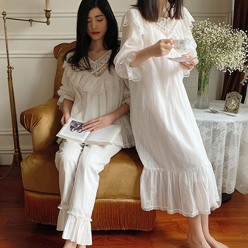 2 Designs.Women's Lolita Princess Sleepshirts Vintage Pajama Sets.Lace Nightgowns.Victorian Nightdress Ruffles Sleep Loungewear
