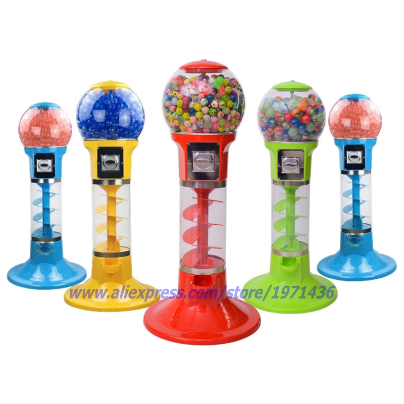 With 500pcs toys, Mini Coin Operated Candy Vendor Gumball Capsules Toy Spiral Vending Machine good quality coin operated tabletop gumball vending machine desktop capsule vending cabinet toy penny in the slot coin vendor
