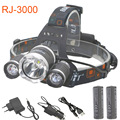 8000LM LED Headlamp 18650 Headlight Rechargeable RJ3000 3LED T6 2R Waterproof Head lights with 6000mah battery car AC charger