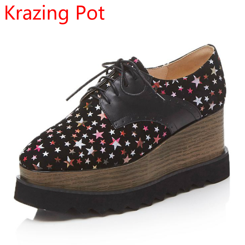 Krazing Pot new sheep suede shoes women square toe lace up  women winter pumps wedge superstar star patterns increased shoes L53 fashion sheep suede tassel casual shoes square toe slip on women pumps wedges superstar flowers preppy style increased shoes l01
