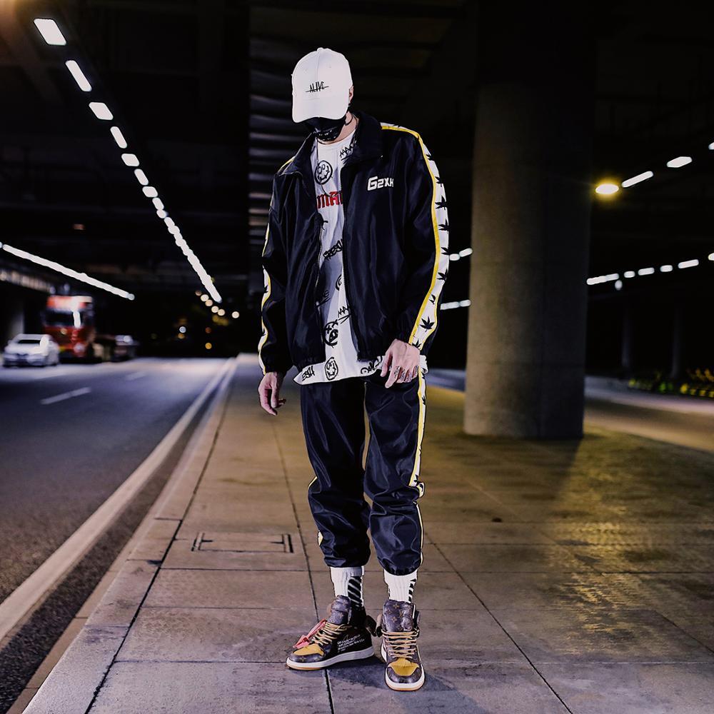 New Brand Leaf Pattern Fashion Suits Jacket+Pants Loose Hip Hop Harajuku Streetwear Casual Hombre Spring Autumn Sets