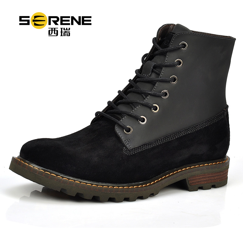 Serene 2018 New Fashion Cow Suede Martin Boots Casual Lace-up Winter Boots Round Toe Designer Mens Boots Bota Hombre Man Shoes round toe suede lace up mens boots