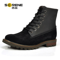 Serene 2018 New Fashion Cow Suede Martin Boots Casual Lace up Winter Boots Round Toe Designer Mens Boots Bota Hombre Man Shoes