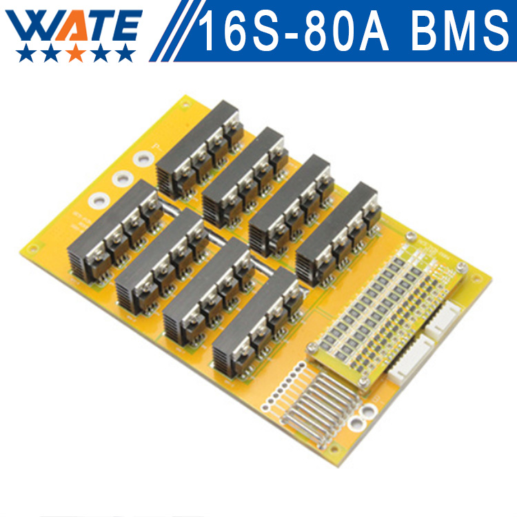 60V 80A 16S BMS/PCM/PCB 60V Li-polymer battery BMS for 16S 3.7V Li-polymer cell 60V BMS/PCM Continuous working current 80A 10pcs 1s 3 7v 2 5a li ion bms pcm battery charging protection board pcm for 18650 lithium ion li battery protect module
